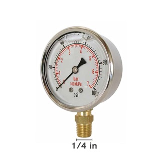 "Gly 60 PSI 4"" Bottom Mount Vacuum Gauge"