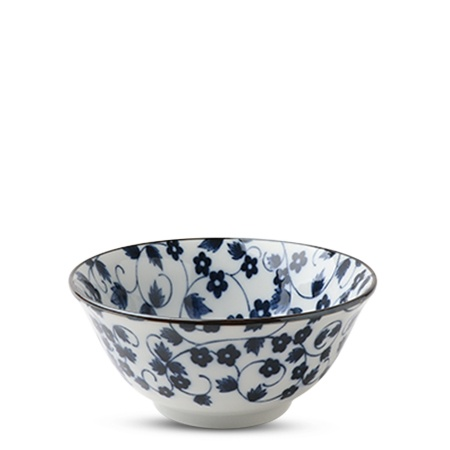 "Blue & White Kiku Karakusa 5.75"" Bowl"