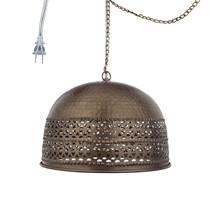 "8""H  Dome Rolled Edge 1-Light Pierced Metal Pendant"