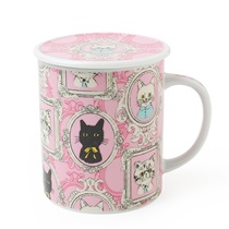 Portrait Cat Lidded Mug - Pink