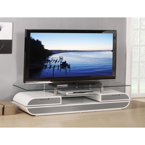91142 WH/GRAY TV STAND W/GLASS TOP