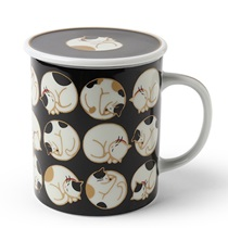 Sleepy Cat 8 Oz. Lidded Mug - Black