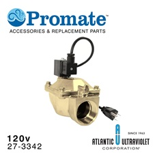 "Solenoid: 1-1/2"" NPT / 120v / 2-150 psi / Brass / Lead Free / NSF for Analog GUARDIAN™ UV Monitors"