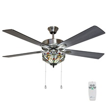 "52""W Bungalow Mission Stained Glass 5-Blade Hexagon LED Ceiling Fan with Remote Control"