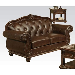 15031 TOP+SPLIT LEATHER LOVESEAT