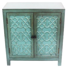 "28""H Antiqued Quatrefoil Teal Two Door Cabinet with Shelf"