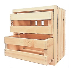 3 Pc. Wood Crates with Drawers (1 Square & 2 Small)