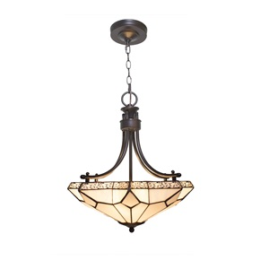 "21.25""H White Tier-Drop Stained Glass with Punched Metal Scallop Hanging Chandelier"
