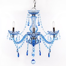 "17.5""H 3-Arm Chandelier - Blue"
