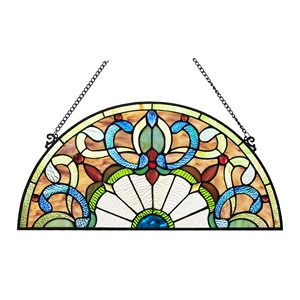 "10.75""H Victorian Corista Half Moon Stained Glass Window Panel"