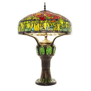 "34""H Tiffany Style Tulip Stained Glass 1-Light Table Lamp"
