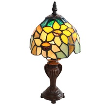 "11.50""H Stained Glass Sunflower Blossoms Accent Table Lamp"