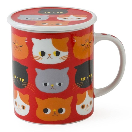 Exotic Cat 8 Oz. Lidded Mug - Red