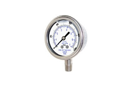 Pressure Gauge - Glycerin Filled Lower Mount Stainless Steel