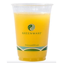 12 OZ GREENWARE CLEAR PLASTIC COLD CUP, COMPOSTABLE, 1000/CS