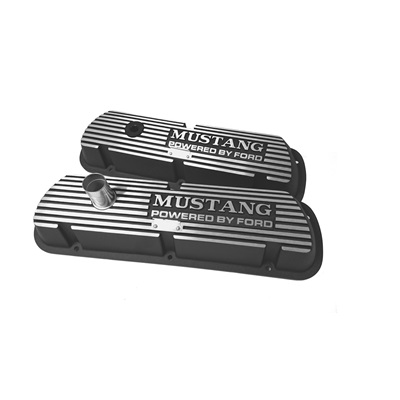 1964-73 Mustang, Block Letters Black Valve Covers