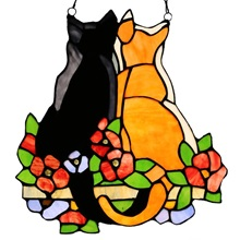"12.5""H Stained Glass Cats in the Garden Window Panel"