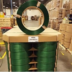 "1"" X 2400' .040 GREEN POLYESTER STRAPPING, 16X6"" CORE, 28/PLT"