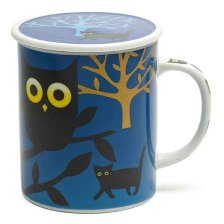 Midnight 8 Oz. Lidded Mug - Owl