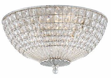 Flush Mount in Burnished Silver Leaf with Crystal