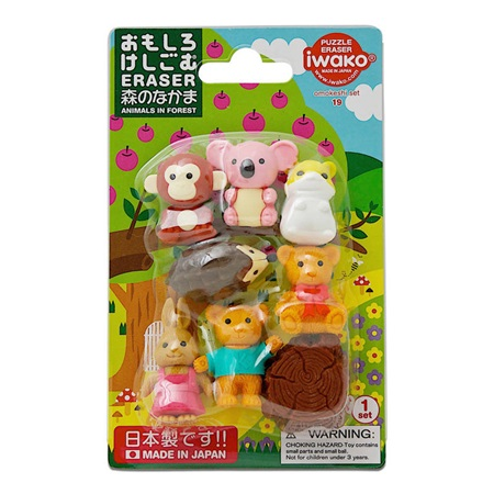 Iwako Forest Friends Eraser Pack