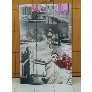 98027 SCENERY 3-PANEL WOODEN SCREEN