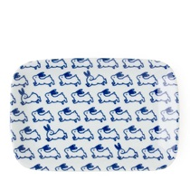 "Blue & White 6.5"" X 4.25"" Plate - Rabbits"