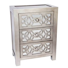 "25.75""H Mini Glam Slam Mirrored 3-Drawer Cabinet"