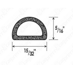 "15/32"" x 5/16"" Rubber D Seal"