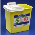 2 Gallon Yellow Chemotherapy Container - Locking Hinged Lid