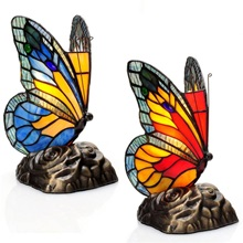 "8""H Set of 2 - Tiffany Style Butterfly Stained Glass Touch Accent Lamps"