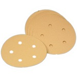"Discs - Premium Gold Aluminum Oxide Hook & Loop 5"" 5-Hole"