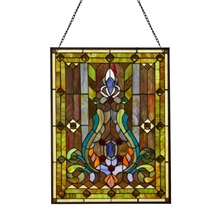 "24.75""H Stained Glass Fleur de Lis Window Panel"