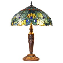 "20""H Tiffany Style Stained Glass Swirling Shells Table Lamp"