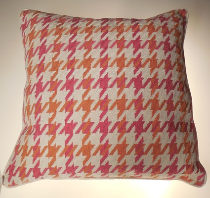 Pink and Orange Houndstooth Print Pillow 22x22