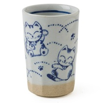 Blue Fortune Cat Cup 9 Oz