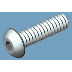 "Button Head Socket Screw, 6-32 X 1/2"", 18-8 Stainless Steel"