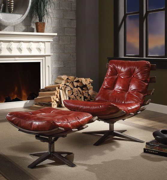 Antique Red Leather Chair with Ottoman