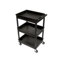 Luxor STC111-B 3 Shelf Plastic Tub Utility Cart
