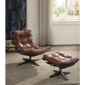 59530 BROWN  2PC PK CHAIR & OTTOMAN