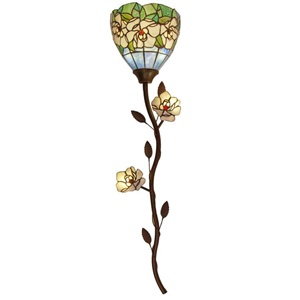 "43""H Cordless LED Tiffany Style Magic Magnolia Wallchiere"