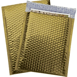 "9 X 11.5"" GOLD GLAMOUR BUBBLE MAILERS, PEEL & SEAL 72/CA GBM0911G"