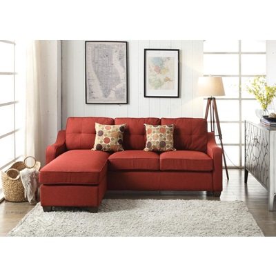 53740 RED SECTIONAL SOFA W/2 PILLOWS
