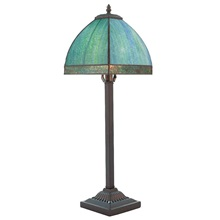 "25""H Tiffany Style Stained Glass Bent Panel Table Lamp"
