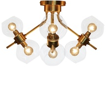 "14.5""H Ezo Brushed Gold and Glass Atom 8-Light Fixture - Gold"