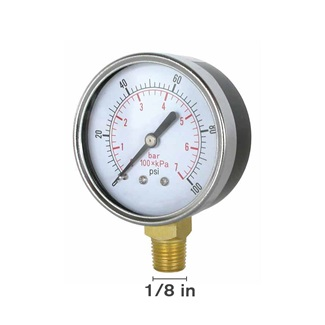 "Dry 0-100 PSI 1.5"" Face Bottom Mount Gauge"