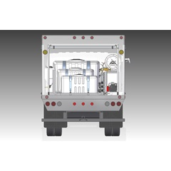 Inside view of back of 1200 series lawn & shrub spray truck