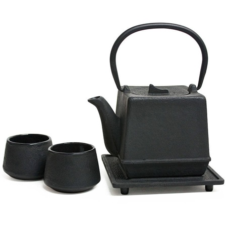 Black Square Cast Iron Tea Set