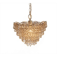 "13""H Cascading Crystal Glass Plug-in and Hardwire Hanging Chandelier"