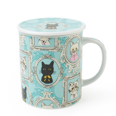 Portrait Cat Lidded Mug - Blue